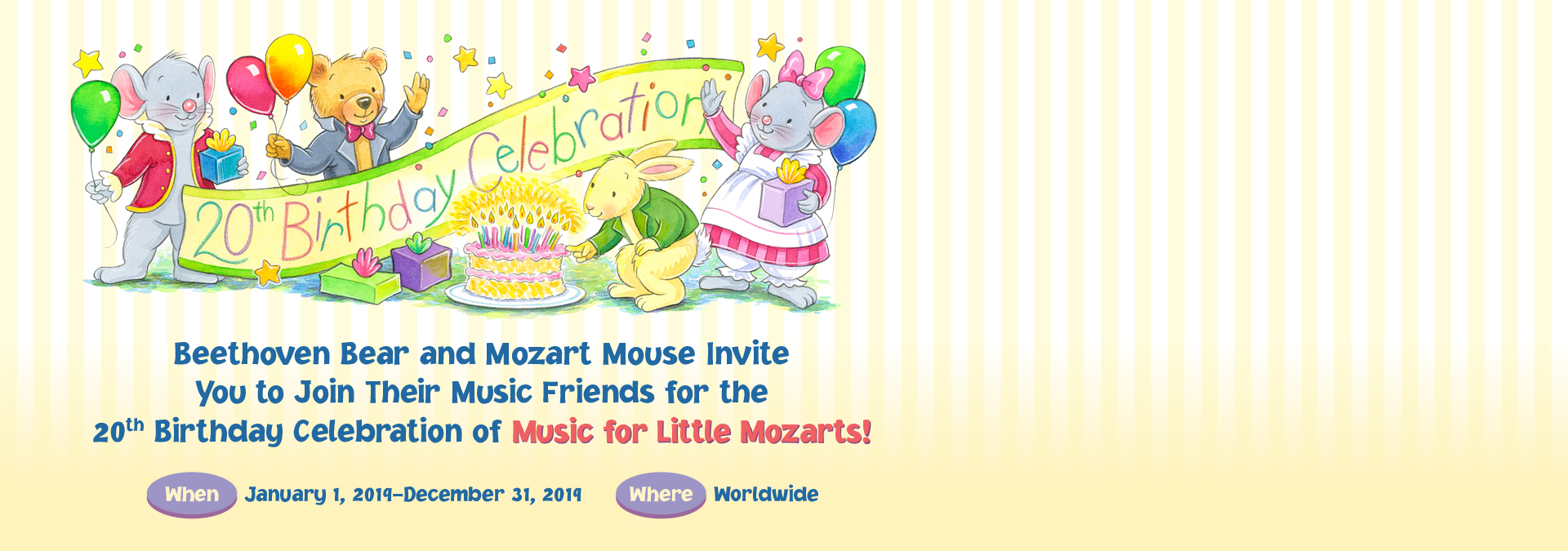 Music for Little Mozarts 20th Birthday Banner