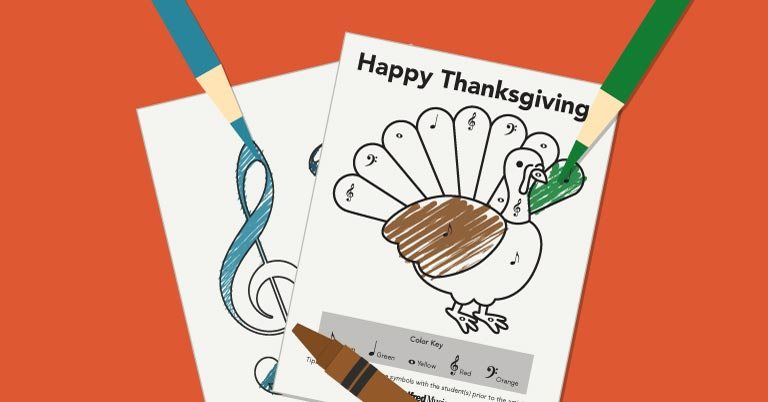 Thanksgiving Coloring Activity for Music Students