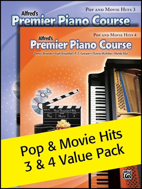 Premier Piano Course, Pop and Movie Hits 3 & 4 2012 (Value Pack)