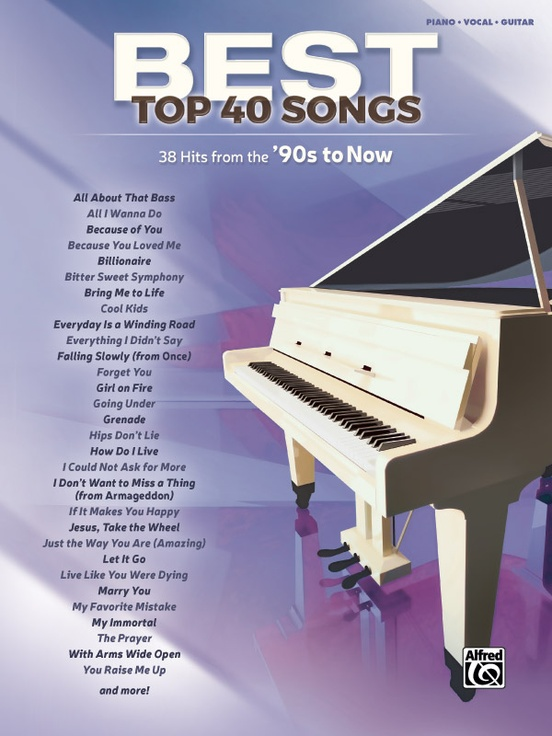 Best Top 40 Songs 90s To Now Pianovocalguitar Book