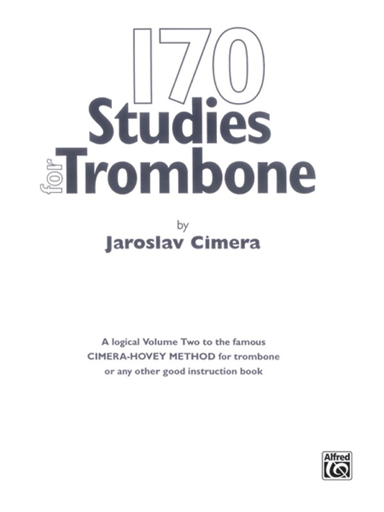 170 Original Studies For Trombone Trombone Book Jaroslav Cimera