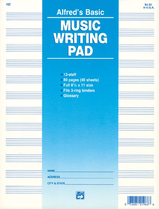 "12 Stave Music Writing Pad (8 1/2"" x 11"")"