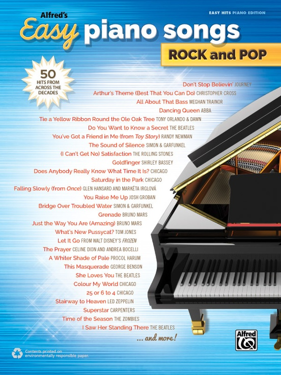 Alfreds Easy Piano Songs Rock And Pop Pianovocalguitar Book