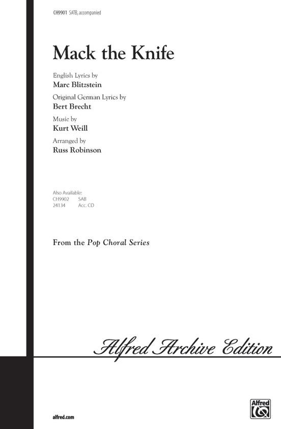 Mack The Knife Satb Choral Octavo Kurt Weill