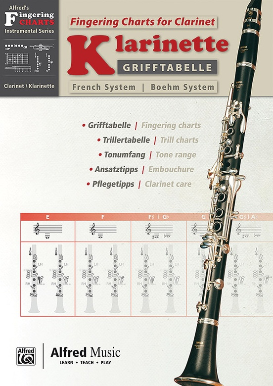 Grifftabelle für Klarinette Boehm-System [Fingering Charts for Clarinet -- French System]