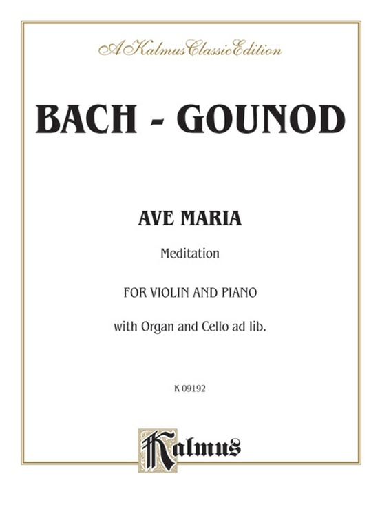 Ave Maria Meditation Violin Book Johann Sebastian Bach