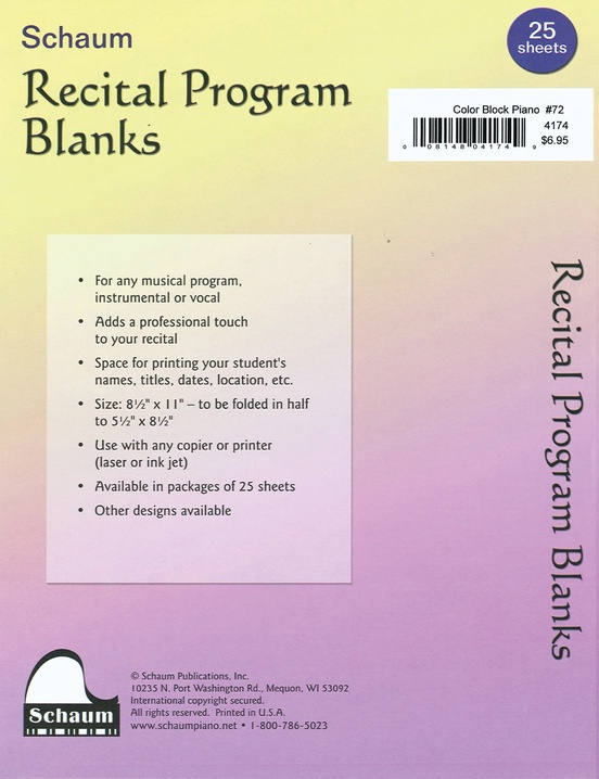 Schaum Recital Programs (Blank) #72: Color Block Piano