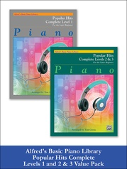 Alfred's Basic Piano Library: Popular Hits, Complete Levels 1 and 2 & 3 (Value Pack)