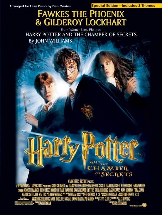 fawkes the phoenix and gilderoy lockhart from harry potter the chamber of secrets easy piano sheet music