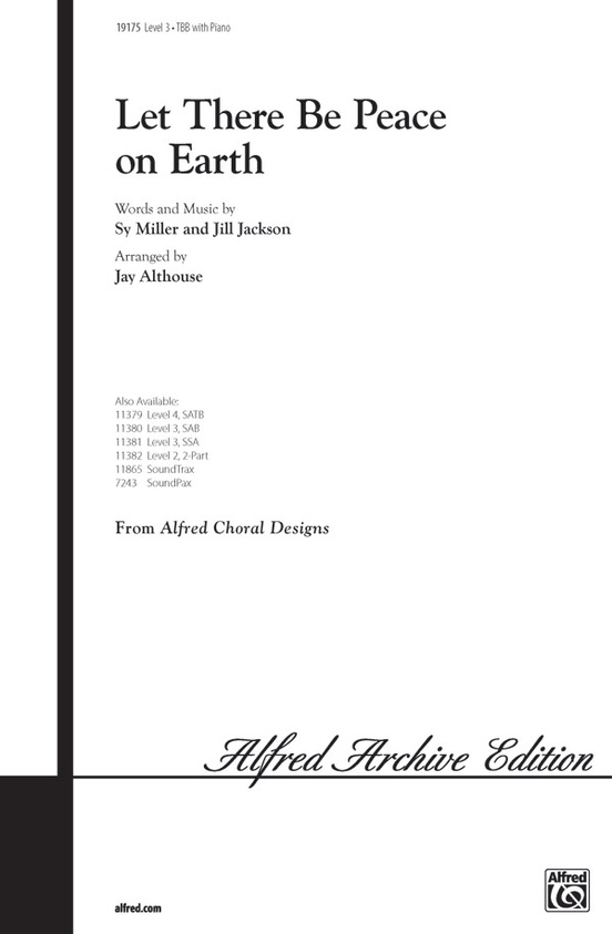 Let There Be Peace on Earth: TBB Choral Octavo: Jill Jackson