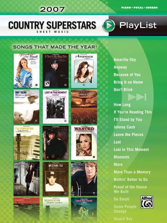 2007 Country Superstars Sheet Music Playlist