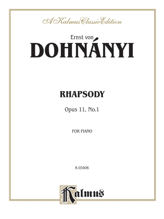 Rhapsody, Opus 11, No. 1