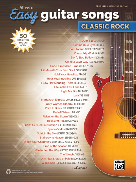 Alfreds Easy Guitar Songs Classic Rock