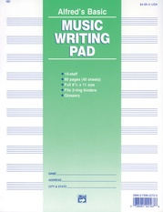 "10 Stave Music Writing Pad (8 1/2"" x 11"")"