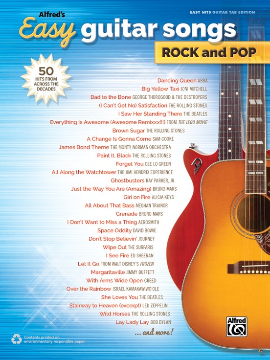 Simple Book Cover Guitar ~ Alfred s easy guitar songs rock and pop hits